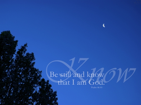 "<i>""Be still and know that I am God.""<i>Psalm 46:10"